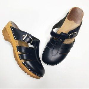Troentorps Swedish Dark Navy Blue Leather Clogs 36